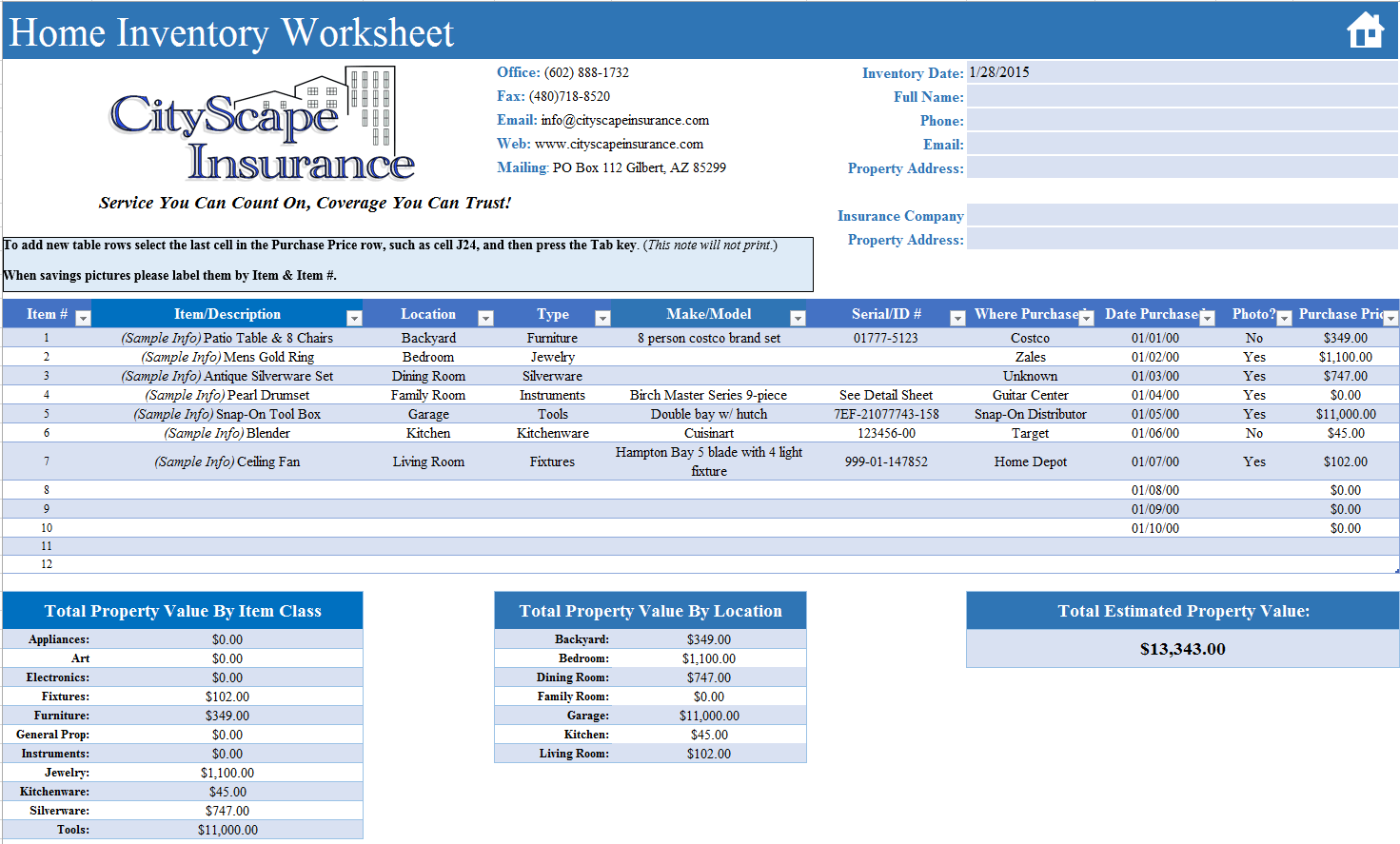 Free Home Inventory Worksheet Cityscape Insurance