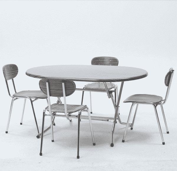 table pliante ovale plus 4 chaises chym