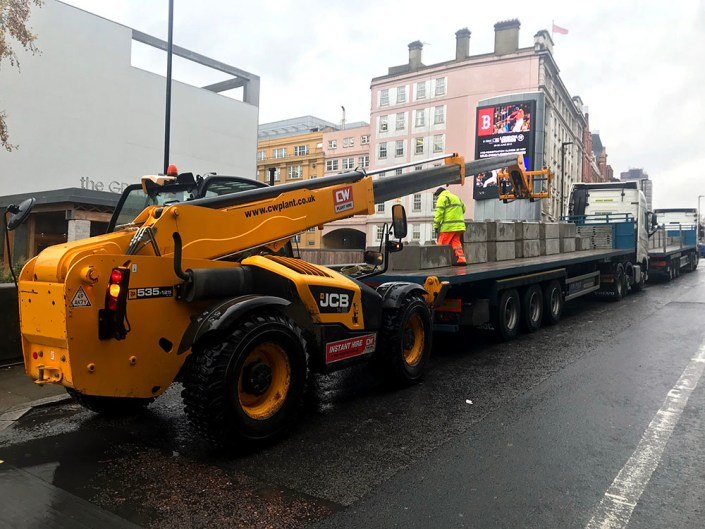Our 750kg Kentledge blocks being unloaded at the IMAX Waterloo