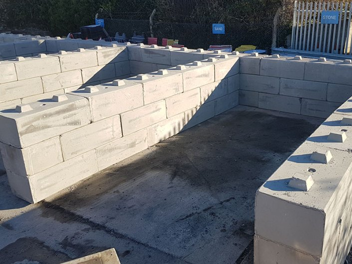 concrete block material bay