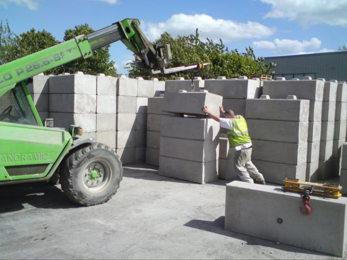 750kg concrete blocks being loaded at our depot