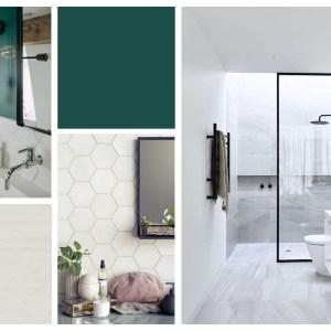 planche de style salle de bains émeraude et blanc