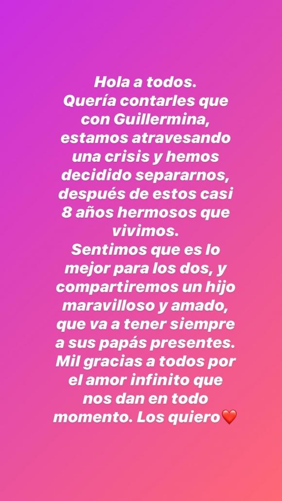"""Marcelo Tinelli anunció su separación de Guillermina Valdés tras ocho años juntos: """"Sentimos que es lo mejor"""""""