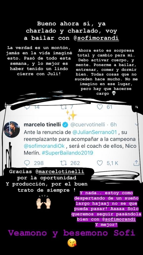 Tinelli anunció que el coach Nico Merlín reemplazará a Julián Serrano, tras renunciar al Súper Bailando