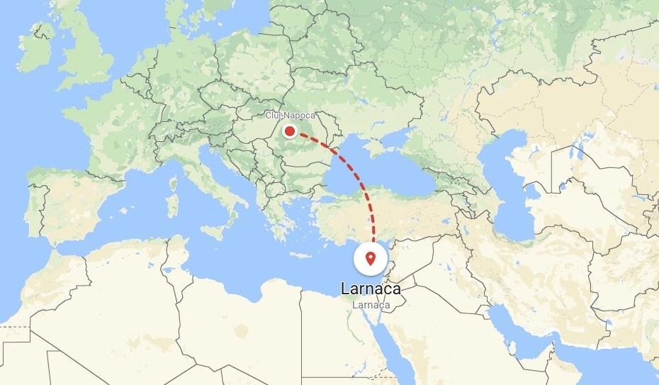 Trip To Cipru - google maps Cluj - Larnaca