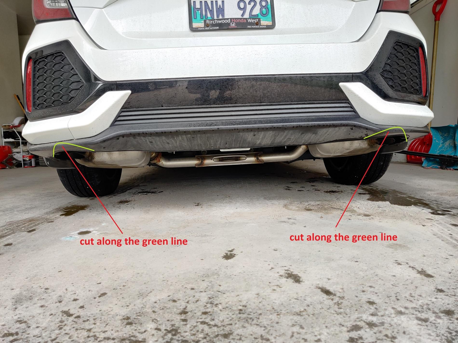 hatchback non sport rear bumper cut or