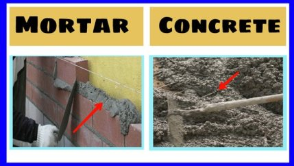 Difference between mortar and concrete