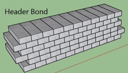 types of bonds in brick masonry-Header bond