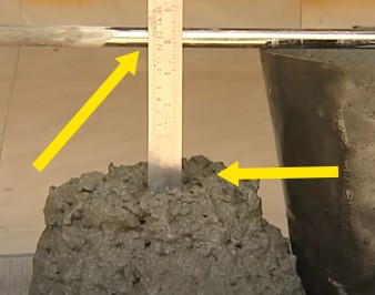 Slump test of concrete