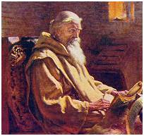 7th Century monk and scholar - Bede (painting by J. D. Penrose)