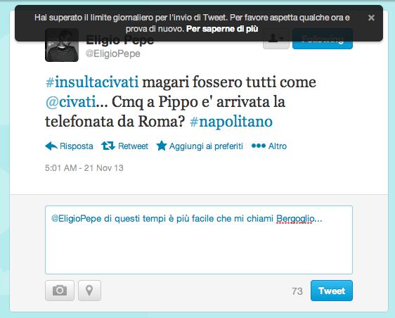 Troppi insulti a Civati: Twitter in tilt