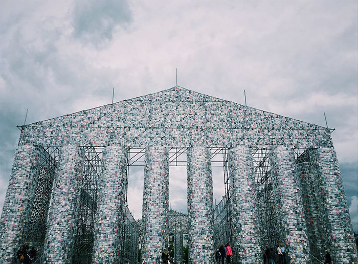 """sixpenceee: """"Art Made from Banned Books Argentinian artist Marta Minujín, 74, has created a monumental replica of the Greek Parthenon from 100,000 copies of banned books. According to the artist, it symbolizes the resistance to political..."""