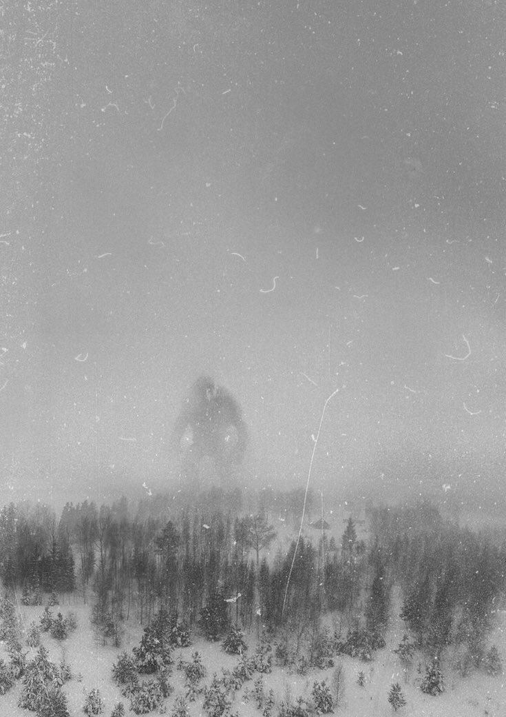 "unexplained-mysteries: "" Photo allegedly taken in December 1942 by the crew of an RAF recon flight 300 claimed to be of the ""Great Norwegian Mountain Troll."" "" Nice pic, but since the Troll is well focused in the under arms, and the only well focused..."