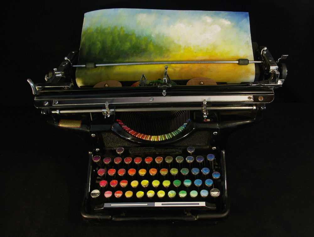 "sixpenceee: ""Washington-based artist Tyree Callahan transformed and old 1937 Underwood Standard typewriter into a functional painting device he calls a Chromatic Typewriter. He did it by replacing the ink pads of the typewriter with colored paint..."