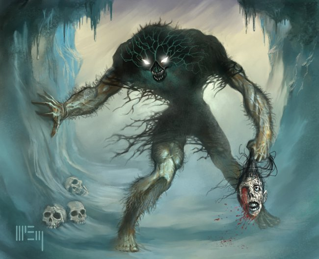 "soulthrashingblacksorcery-blog: ""Ithaqua, hailing from the Plateau of Leng, is truly one of the greatest beasts in the Lovecraft mythos! "" Interesting take, but not hungry enough, and he rules Borea, and is restricted to the Arctic, not Leng at all…"