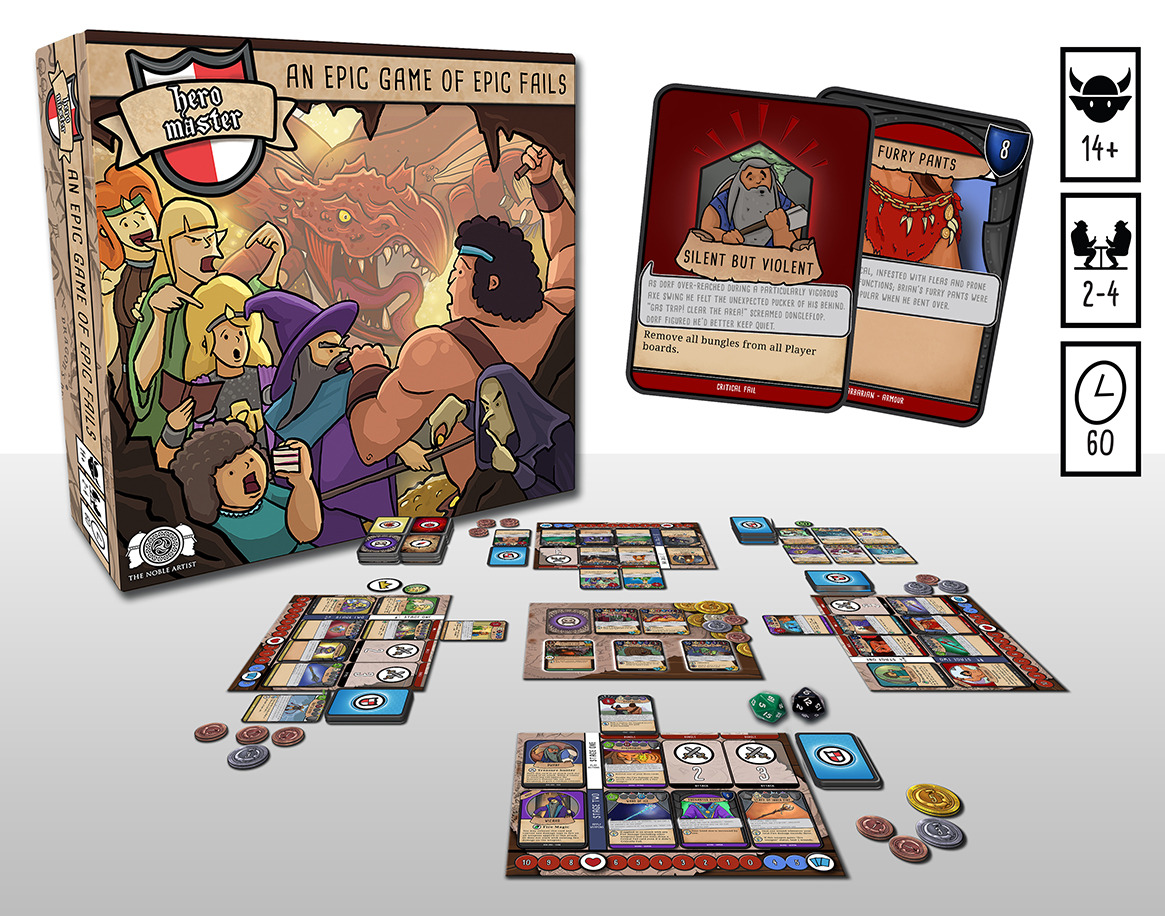 Hero Master: An Epic Game of Epic Fails Well, looks fun… Great comic art, and gameplay, from Jamie Noble Frier, I've featured his book cover art before (he's got a Facebook you can look at and all the usual stuff too) . His skills out-mad my...