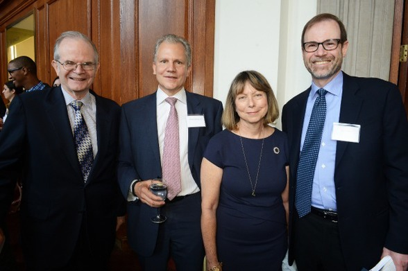 Group photo ProPublica's Paul Steiger, Arthur Sulzberger, Jill Abramson, and Reuters' Stephen Adler (also a member of CJR's board).