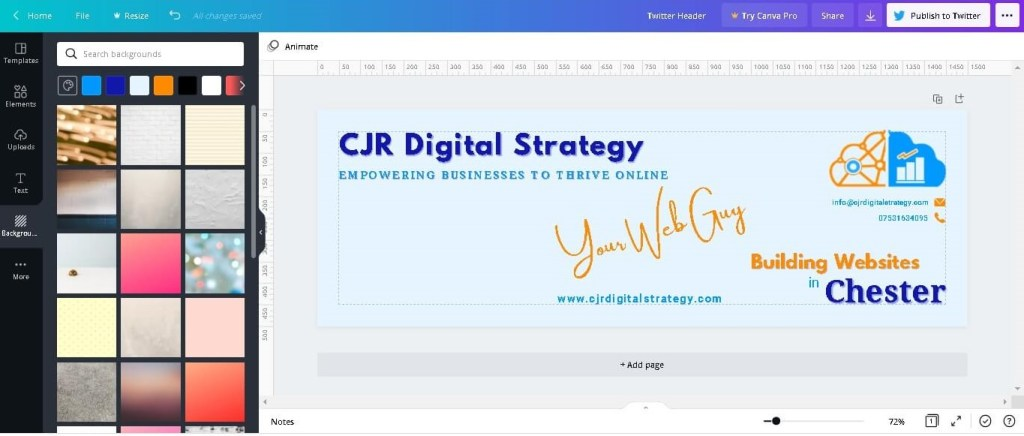 Canva to make Twitter Header for CJR Digital Strategy