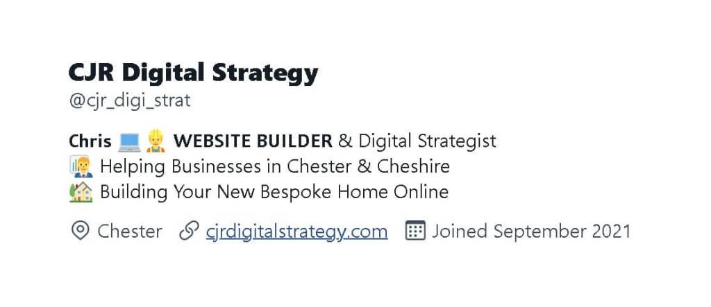 Twitter Bio for CJR Digital Strategy