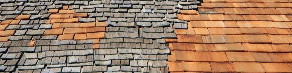 Old and new wood shake shingles on a Colorado roof.