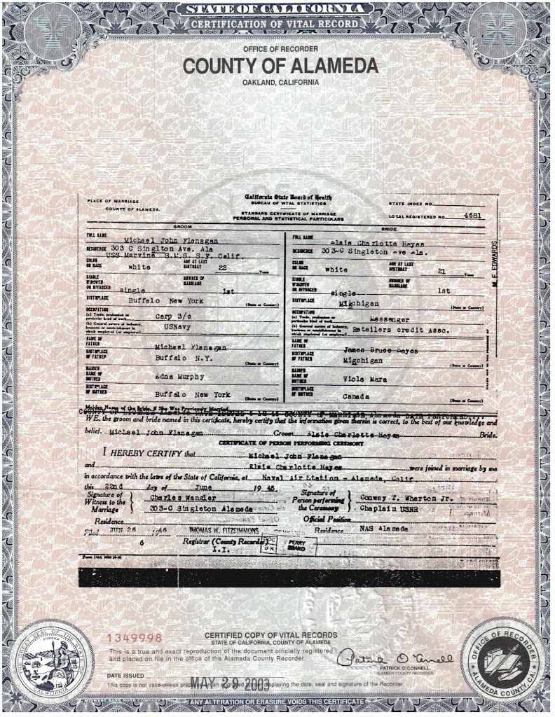 Birth certificate california alameda county images certificate anniversaries every family history needs a love story like mike and elsies marriage certificate click on aiddatafo Images