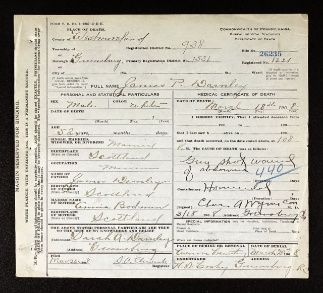 James Patterson Darnley Death certificate, courtesy of Ancestry.com.