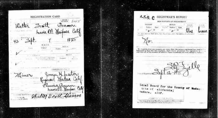 Gann Walter Scott - WWI Draft Card - Mariposa CA