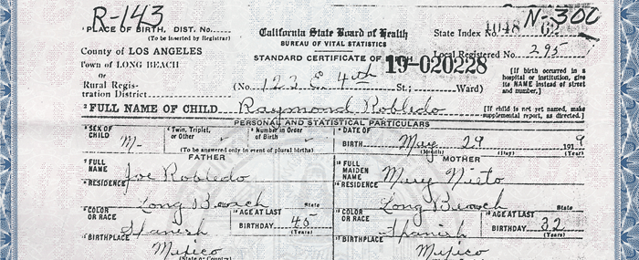 Grandfather Benjamin Robledo (1919-1990): Trying to Solve the Mystery of His Given Birth Name