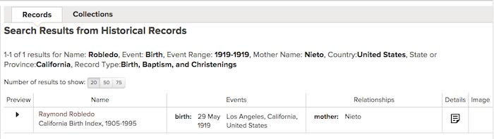 Robledo-Nieto - 1919 - CA Birth Index - Family Search