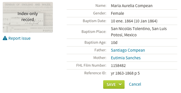 Aurelia Compean baptism entry in transcribed index. Mexico, Select Baptisms, 1560-1950. Source: FamiilySearch.