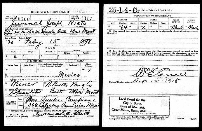 Juvenal Nieto, WWI Draft Registration Card