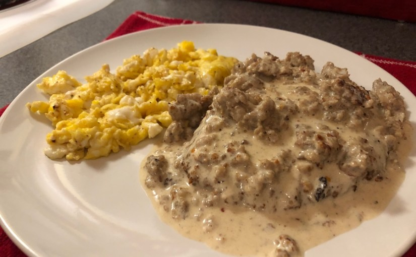 Keto Chicken Fried Steak with Sausage Gravy