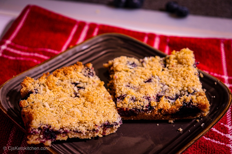 Keto Blueberry Crumble Bars