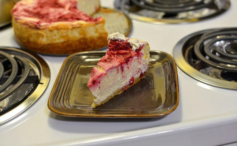Keto Low Carb Cranberry Orange Swirl Cheesecake