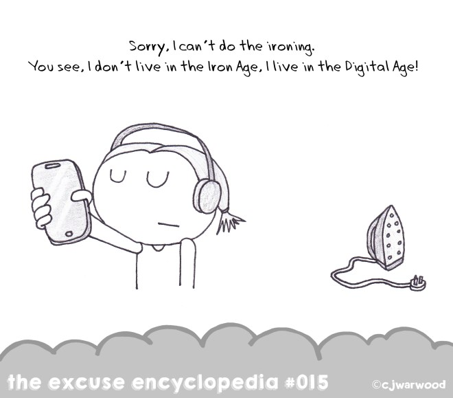 No Ironing in the Digital Age Excuse Cartoon