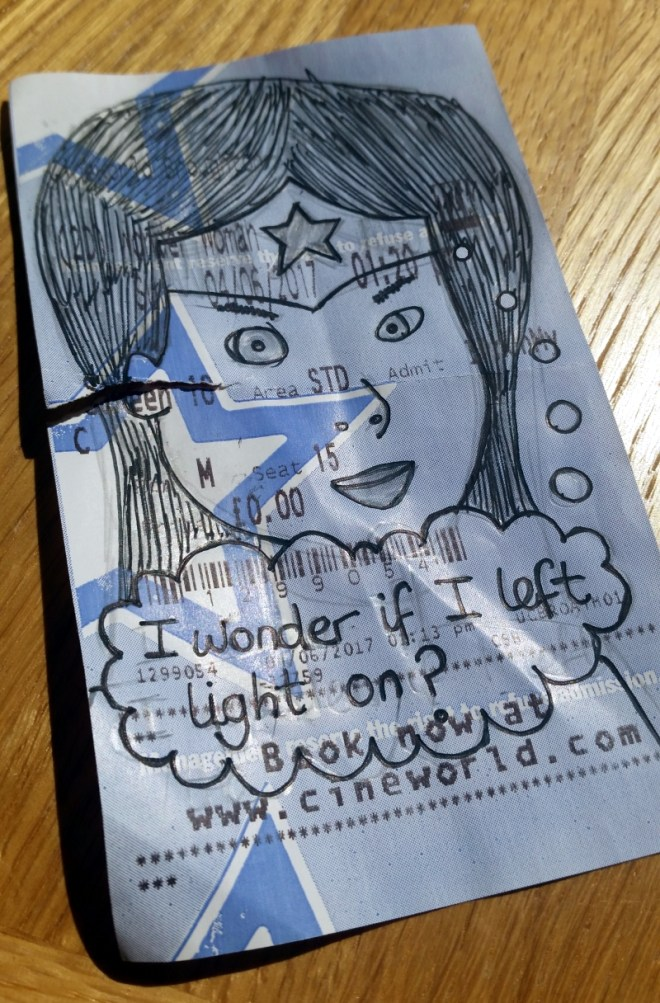 Wonder Women Cinema Ticket Doodle