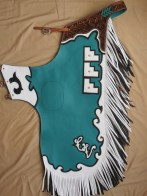 Bronc Chap, Teal, white & black with Maple Leaf Carving, Brand & Initiales