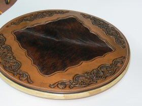 Lazy Suzan with Maple Leaf Carving & cow hide