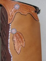 Swarovski Crystals Conchos and spots, Feather carving