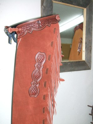cutting horse chaps, basket, initial & lace down the leg