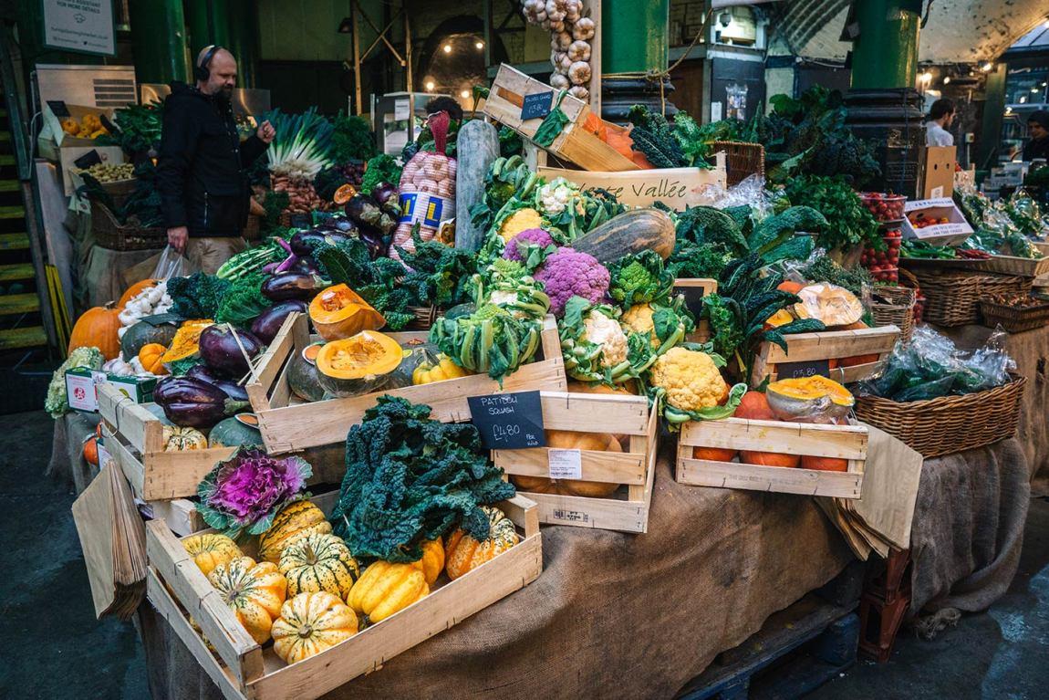Vegetable stall at Borough Market, London Bridge - best Saturday markets in London