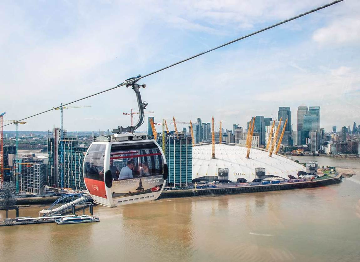 Things to do in Canary Wharf and Docklands, London - Giant Robot - cable car greenwich