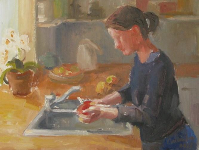 In de keuken, olieverf, 21x27 cm, 2012 [verkocht]