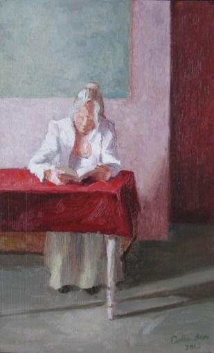 Lezende vrouw, olieverf op paneel, 32x20 cm, 2012