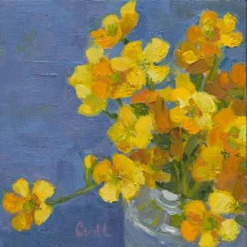 Boterbloemen, olieverf op paneel, 10x10 cm, 2015