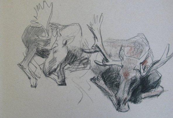 Elanden, krijt op papier, 30x40 cm, 2010