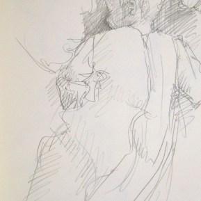 Tussen de beren, potlood in schetsboek, 2015