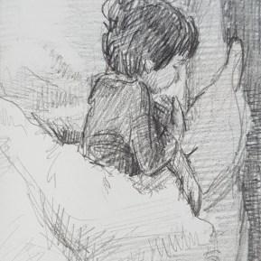 Slapend, potlood in schetsboek, 2017