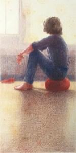 Geaard, kleurpotlood op papier, 28x14 cm, 2019 [verkocht]