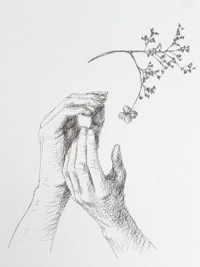 Fragiel, fineliner op papier, 18.4x15.3 cm, 2020